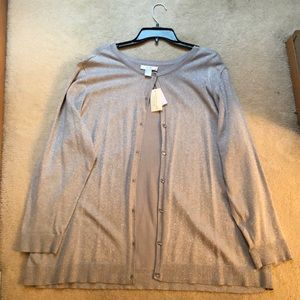 CJ Banks Sweaters - NEW CJ Banks Light Silver Cardigan Sweater